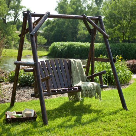 Adirondack Swing Frame (Coral Coast Rustic Torched Log Curved Back Porch Swing and A-Frame Set )