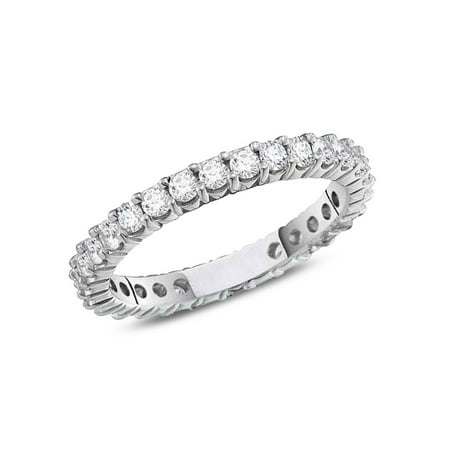 1/2 Carat (ctw H-I, I1-I2) Diamond Eternity Wedding Anniversary Band in 14K White Gold