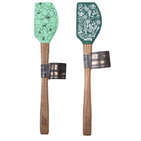 Thyme & Table 2-Pack Novelty Silicone Spatula - Seafoam Green Floral Print and Dark Green Vegetable - Spongebob Spatula