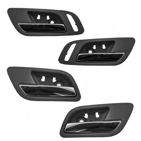 4 Pc Set Inside Door Handles Chrome Lever Black Housing Replacement for Cadillac GMC Chevy Pickup Truck 15935954 15947936 15939073 15939084, Made to.., By AUTOANDART