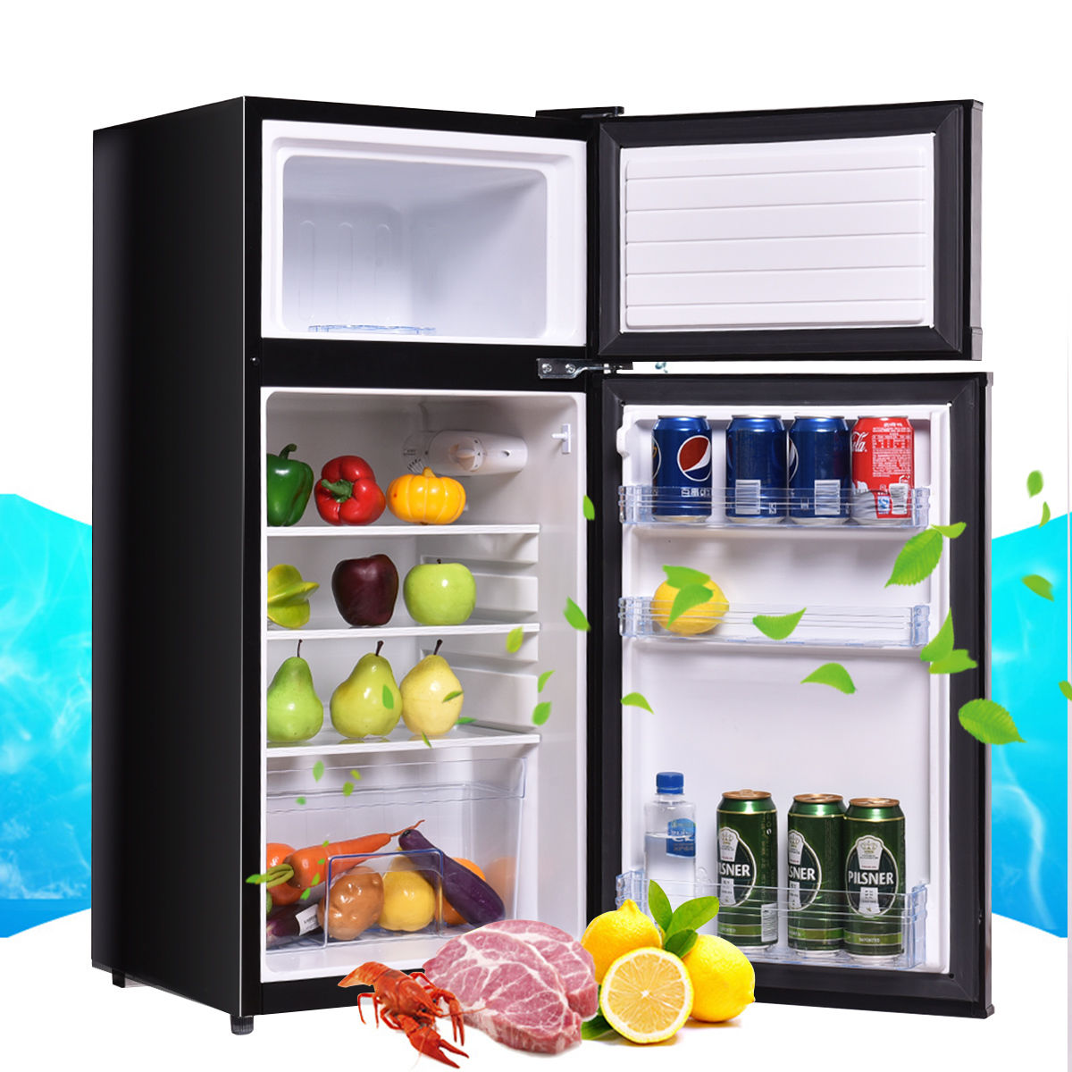 Costway 2 Doors 3.4 cu ft. Unit Stainless Steel Compact Mini Refrigerator Freezer Cooler
