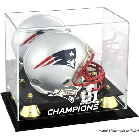 New England Patriots Super Bowl LI Champions Golden Classic Mini Helmet Logo Display Case