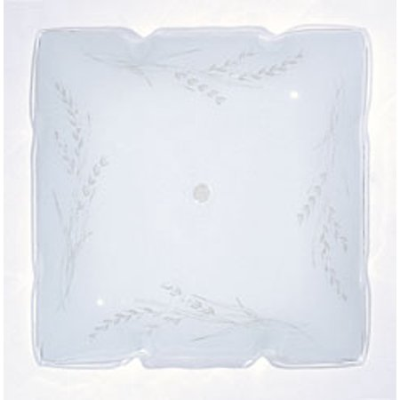 Replacement for 50/503 12 INCH RUFFLED GLASS SQUARE LAMP SHADE WHITE FINISH WHEAT - Wheat Finish Glass