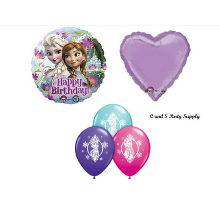 5 pc. Frozen Anna & Elsa Purple BIRTHDAY PARTY Balloons Decorations - Elsa Birthday Party