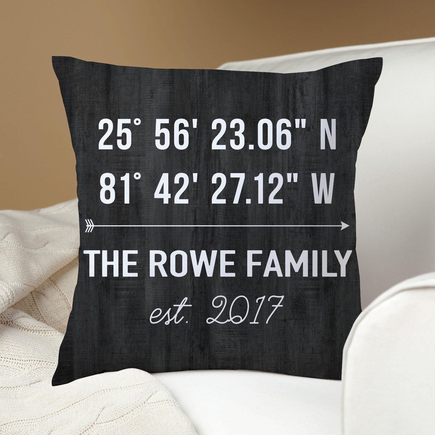 Personalized Latitude and Longitude Throw Pillow - Dark Gray