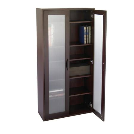 Storage Bookcase With Gl Doors Tall Mahogany