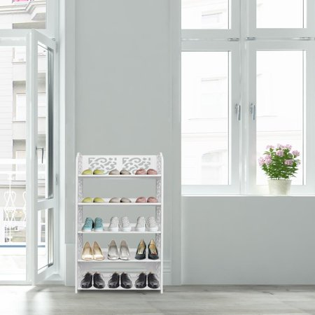Zimtown 5 Tier Shoes Rack, White Wood Plastic Modern Space-Saving Display Shoe Tower Plastic Shoe Rack