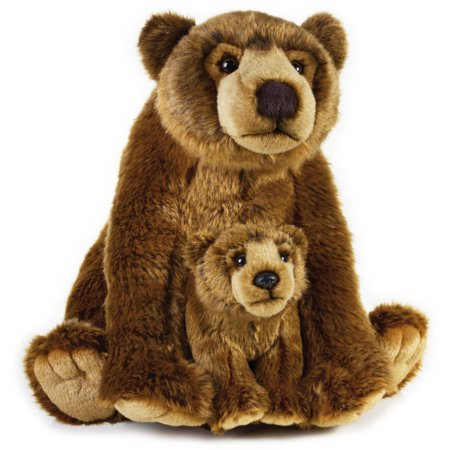 Lelly National Geographic Plush  Grizzly Bear With Baby