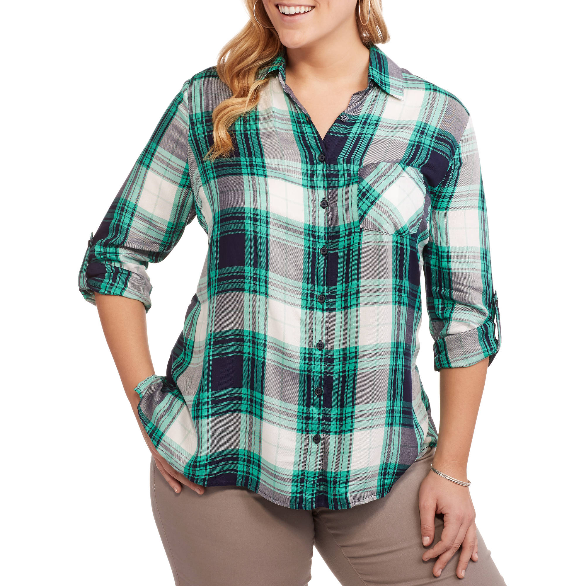 Faded Glory Women's Plus Plaid Button Down Shirt