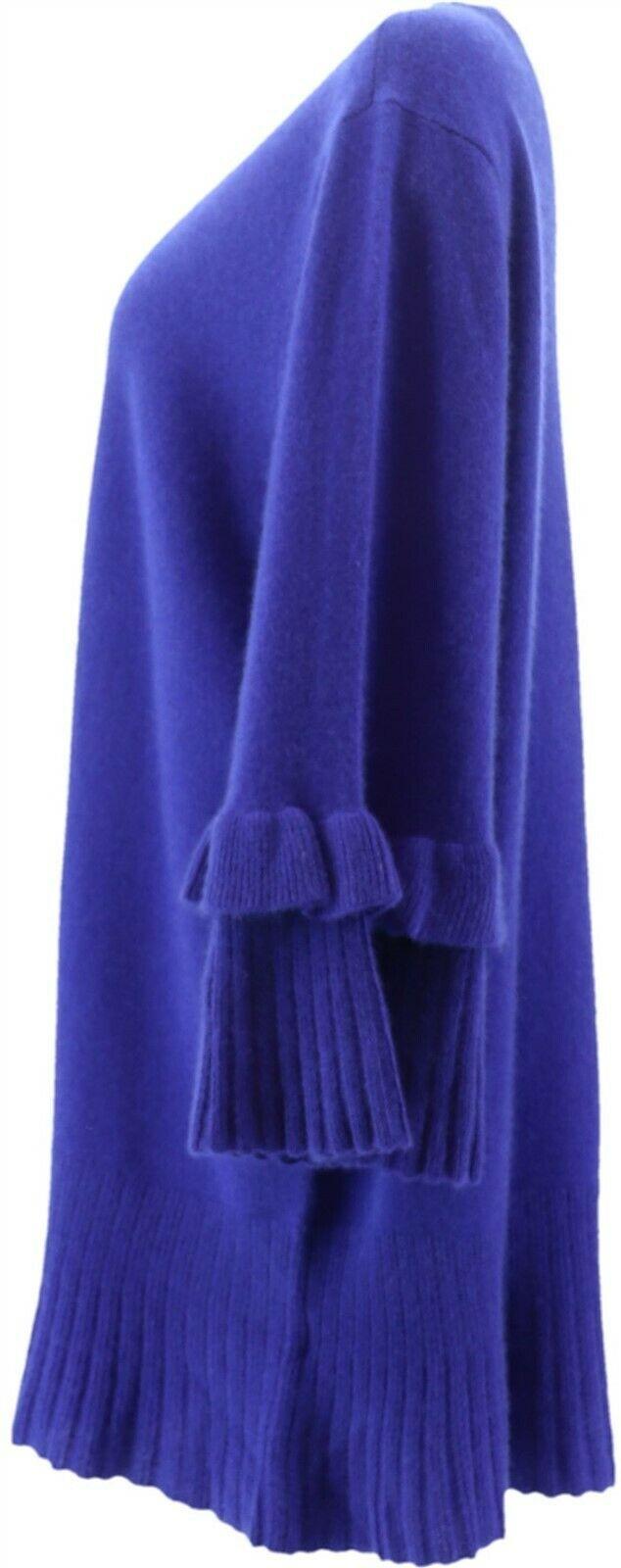 Isaac Mizrahi 2-Ply Cashmere Ruffle Bell Slv Sweater Ultramarine XL NEW A343580
