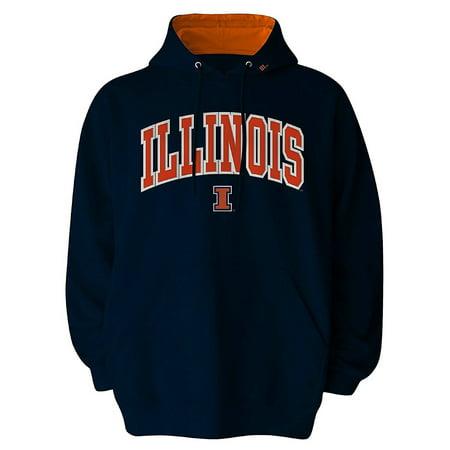 Illinois Fighting Illini Pullover Hooded Fleece Sweatshirt Hoodie (Large)