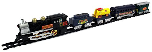 Tram Express Battery Operated Toy Train Set w  5 Train Cars, Train Station by Velocity Toys