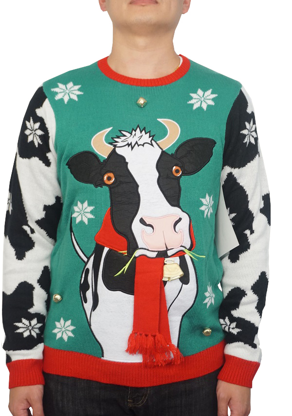 Holiday Men's Jingle Scarf Cowbells Ugly Christmas Sweater, Up to size 2XL