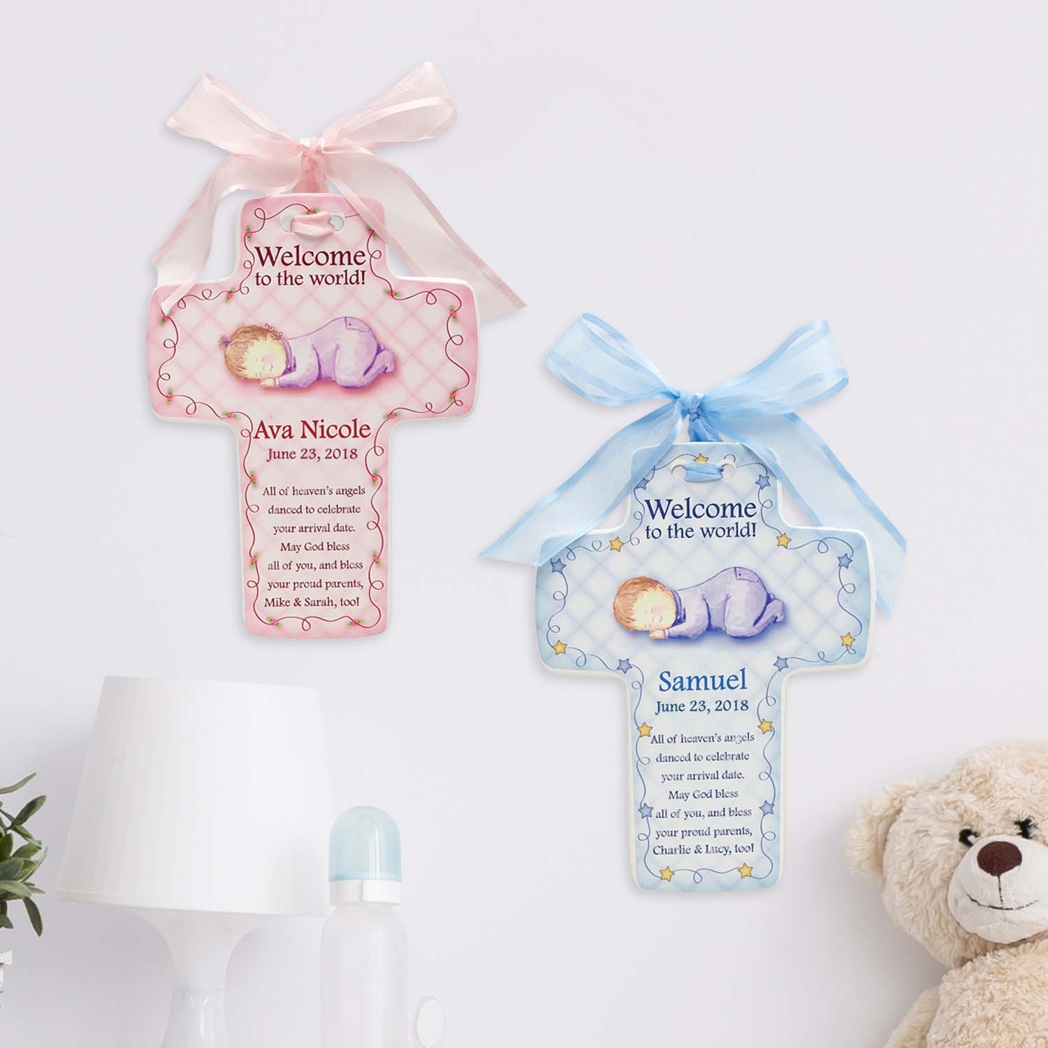 "Personalized ""Welcome to the World"" Ceramic Baby Cross-Available in Pink or Blue"