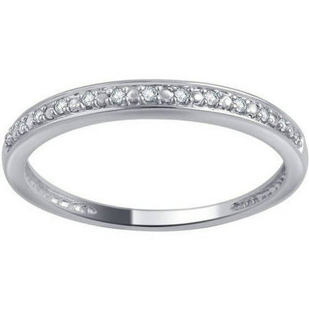 10kt Gold Round Diamond Accent Wedding Band, I-J/I2-I3 Diamond Palladium Wedding Band