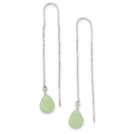 Agate Antique Earrings (Sterling Silver Green Agate Threader Earrings (2.6IN x 0.3IN ))