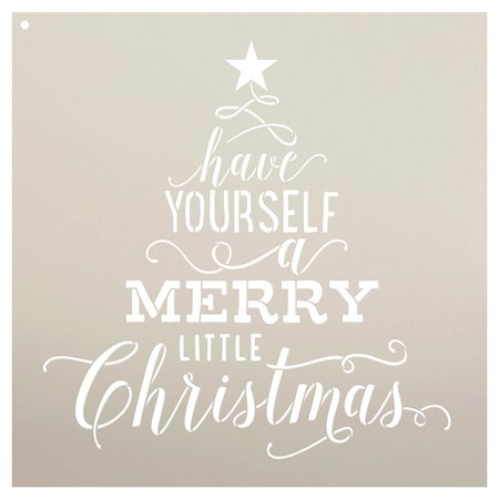 Have Yourself A Merry Little Christmas - Tree Stencil by StudioR12 | Festive Holiday Word Art - Reusable Mylar Template | Use on a Wall, Canvas, Boards | Etching, Chalk, DIY Home Decor - SELECT SIZE