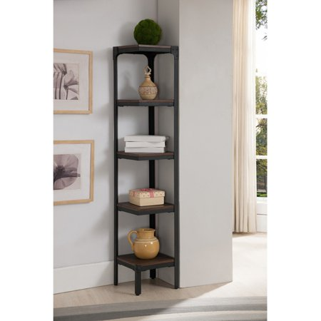 K&B Furniture Antique Walnut and Metal Tiered Corner Bookcase