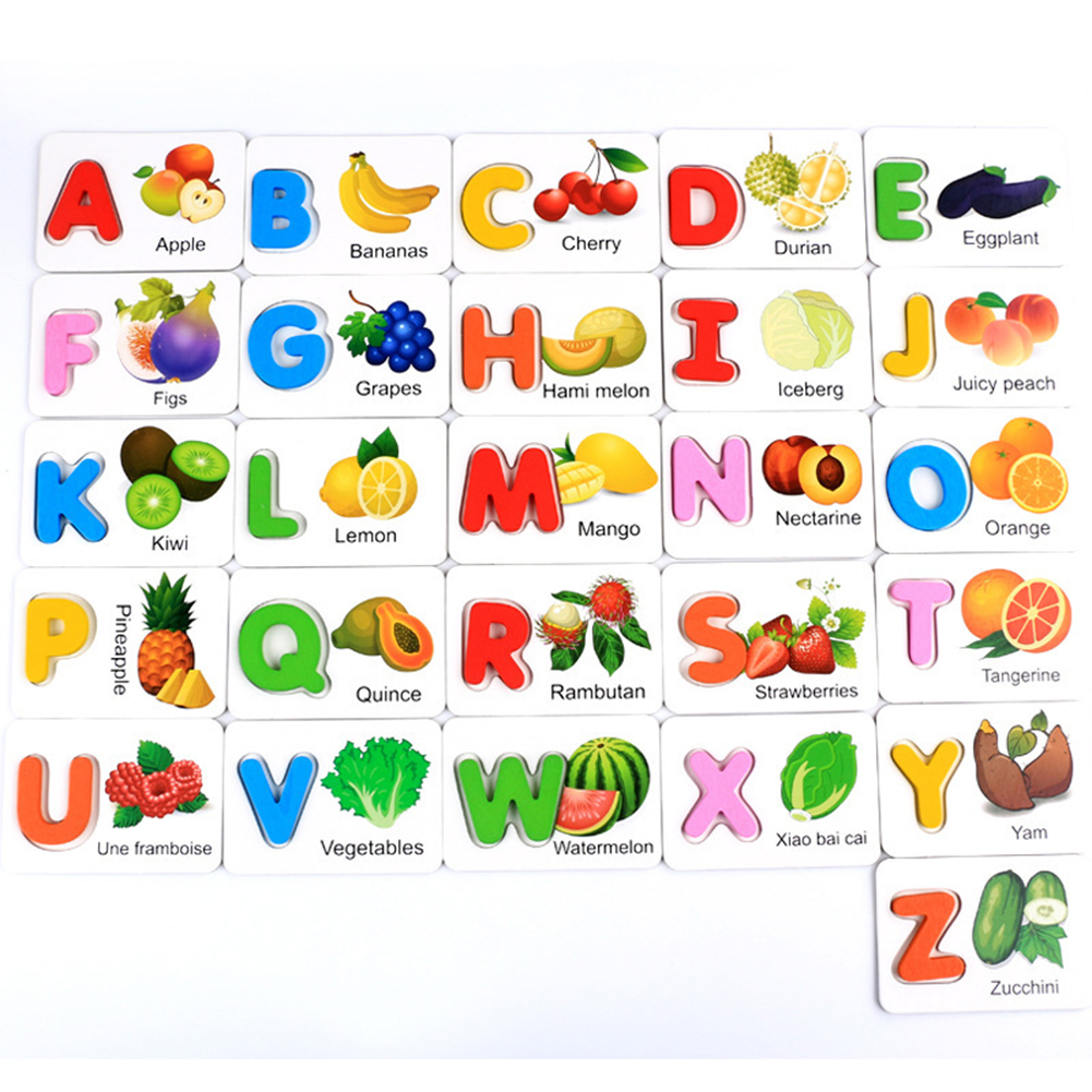 Wooden Early Education Baby Learning Fruit Vegetable ABC Alphabet Letter Cards Cognitive Educational Toys for Kids Color:fruit alphabet card - image 3 de 6
