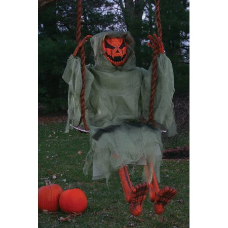 36in. Swinging Dead Pumpkin Halloween Decoration