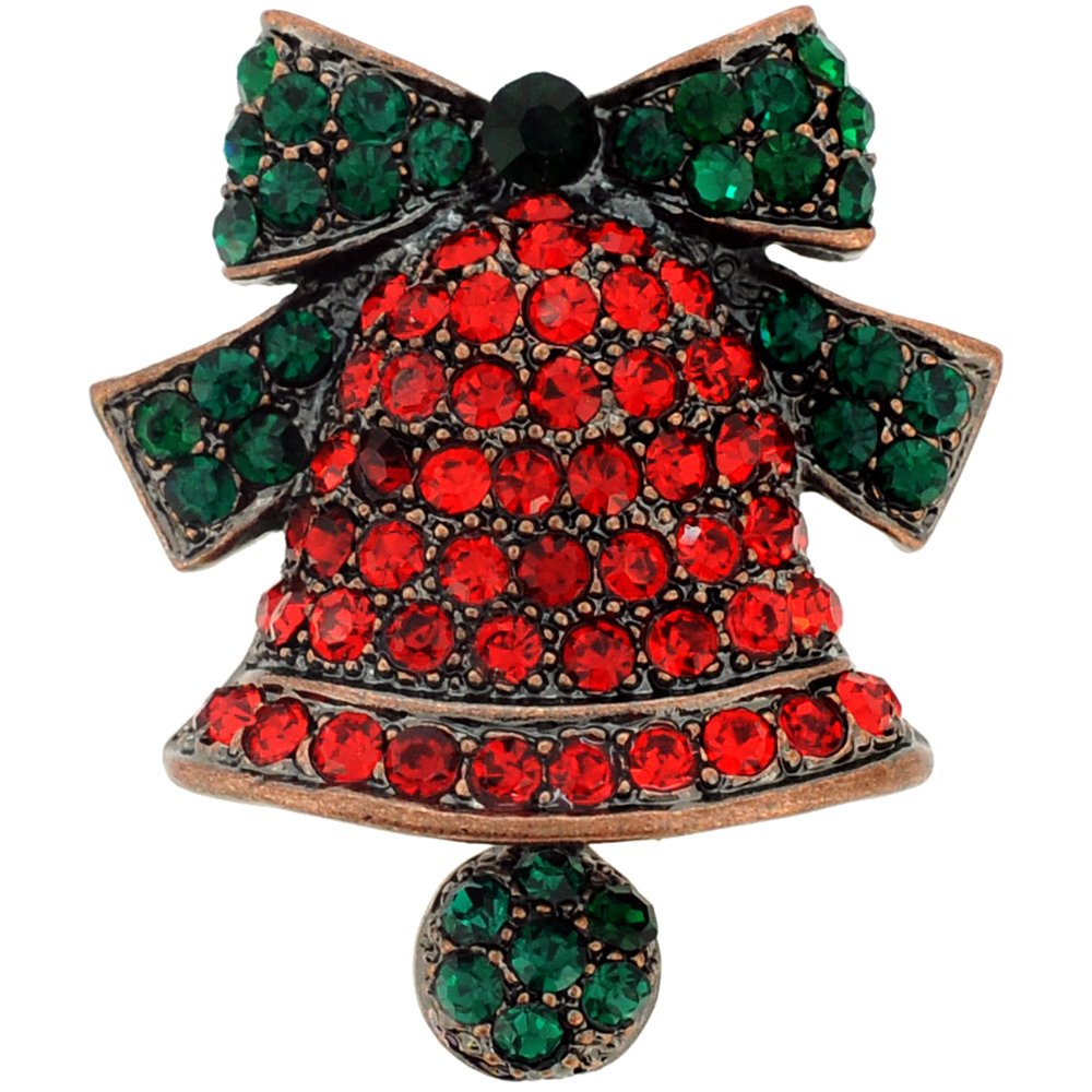 Red Christmas Bell with Green Bow Crystal Pin Brooch by