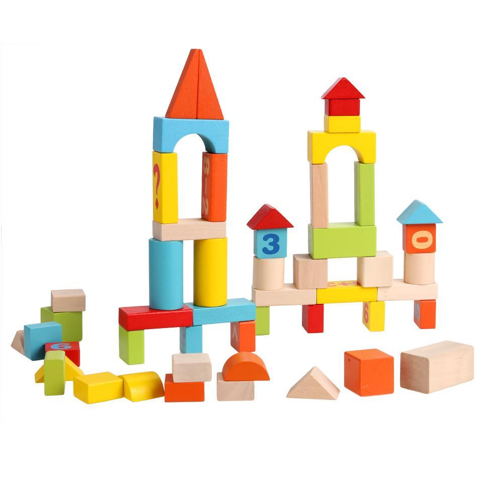52 PCS Colorful  Baby Wooden Blocks Set  Stacking Block Digital Building Learning Block Educational Toys GOGBY