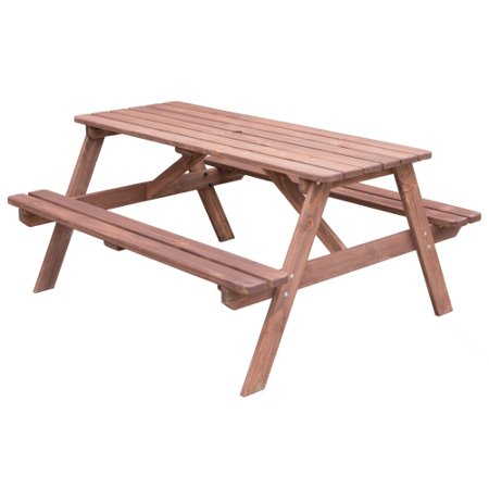 A-Frame Outdoor Wooden Patio Deck Garden Picnic Table, Stained