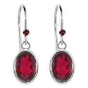 1.93 Ct Oval Red Mystic Topaz Red Garnet 925 Sterling Silver Earrings