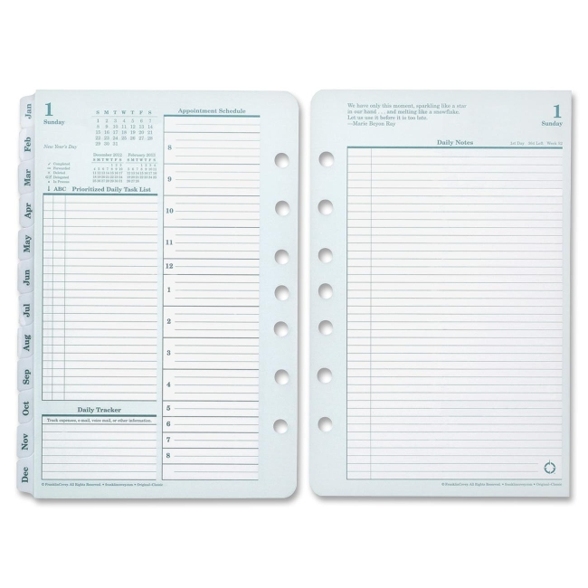 "Franklin Covey Original Full Year Daily Planning Pages - Daily - 1 Year - January 2018 till December 2018 - 8.50"" x 11"" - Green, White - Tabbed"