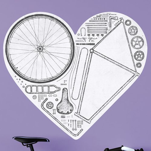 My Wonderful Walls Love Bike Wall Decal