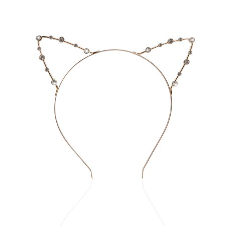 PIXNOR Rhinestone Headband with Cat Ears Fancy Dress for Costume Party