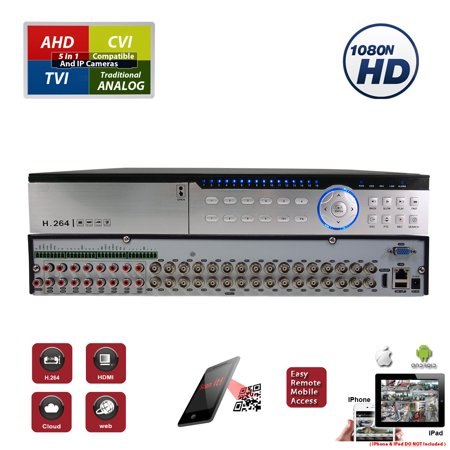 Evertech 32 Channel Security DVR Recorder H.264 1080N Hybrid 4in1 AHD TVI CVI Analog CCTV Security Camera System Digital Video Recorder (No Hard Drive)