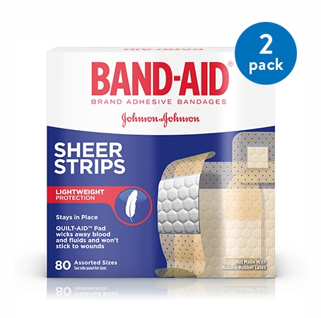(2 Pack) Band-Aid Brand Sheer Strips Adhesive Bandages, All One Size, 80 ct