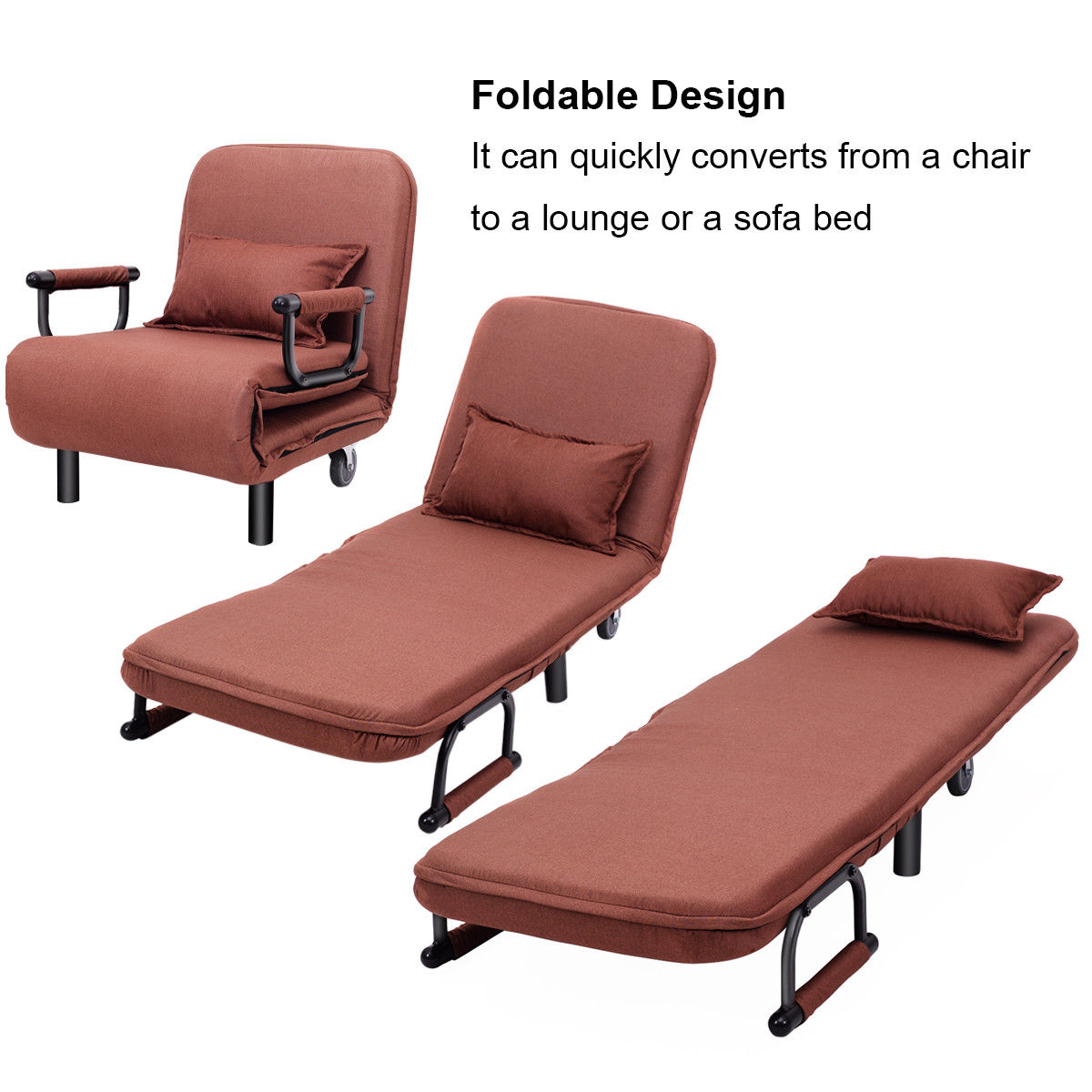Costway Convertible Sofa Bed Folding Arm Chair Sleeper ...