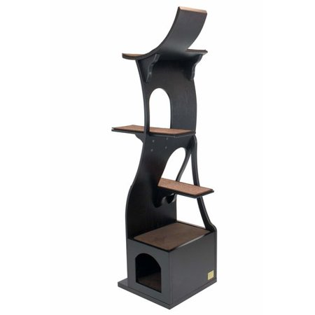 Frontpet Willow Cat Tree Tower Espresso 20 L X 20 W X 69 H Cat