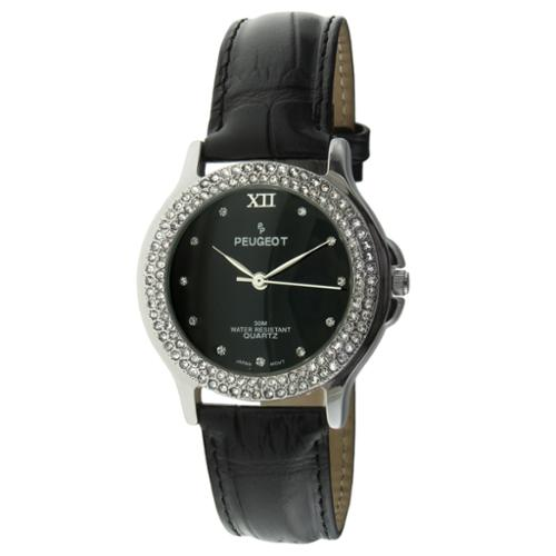 Peugeot Women's Austrian Crystal Black Dial Accented Leather Strap Watch