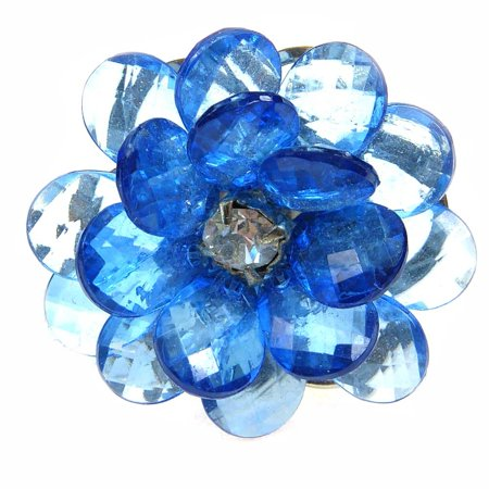 Transparent Flower Ring - Blue