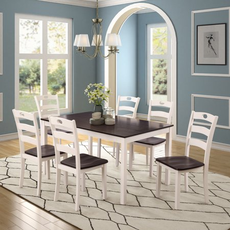 JRFOTOO 7 Pieces Dining Table Set for 6 Person Kitchen Wood Table and Chairs, White (kitchen table set 6 person)