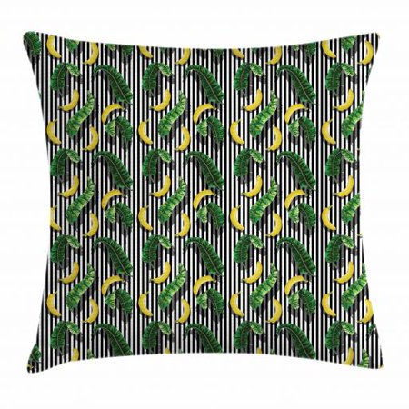 Banana Leaf Throw Pillow Cushion Cover, Yummy Bananas and Leaves Vertical Black and White Striped Background, Decorative Square Accent Pillow Case, 18 X 18 Inches, Yellow Emerald Black, by (Emerald Square Mall Black Friday)