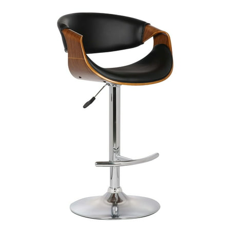 Pink Butterfly Stool - Armen Living Butterfly Adjustable Swivel Barstool with Pu with Chrome Finish and Walnut Wood