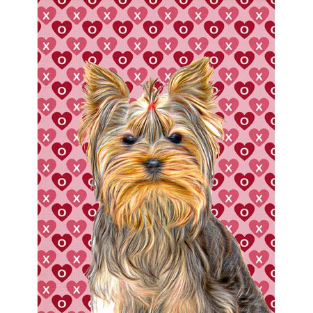 Hearts Love and Valentine's Day Yorkie / Yorkshire Terrier Flag Garden Size KJ1191GF