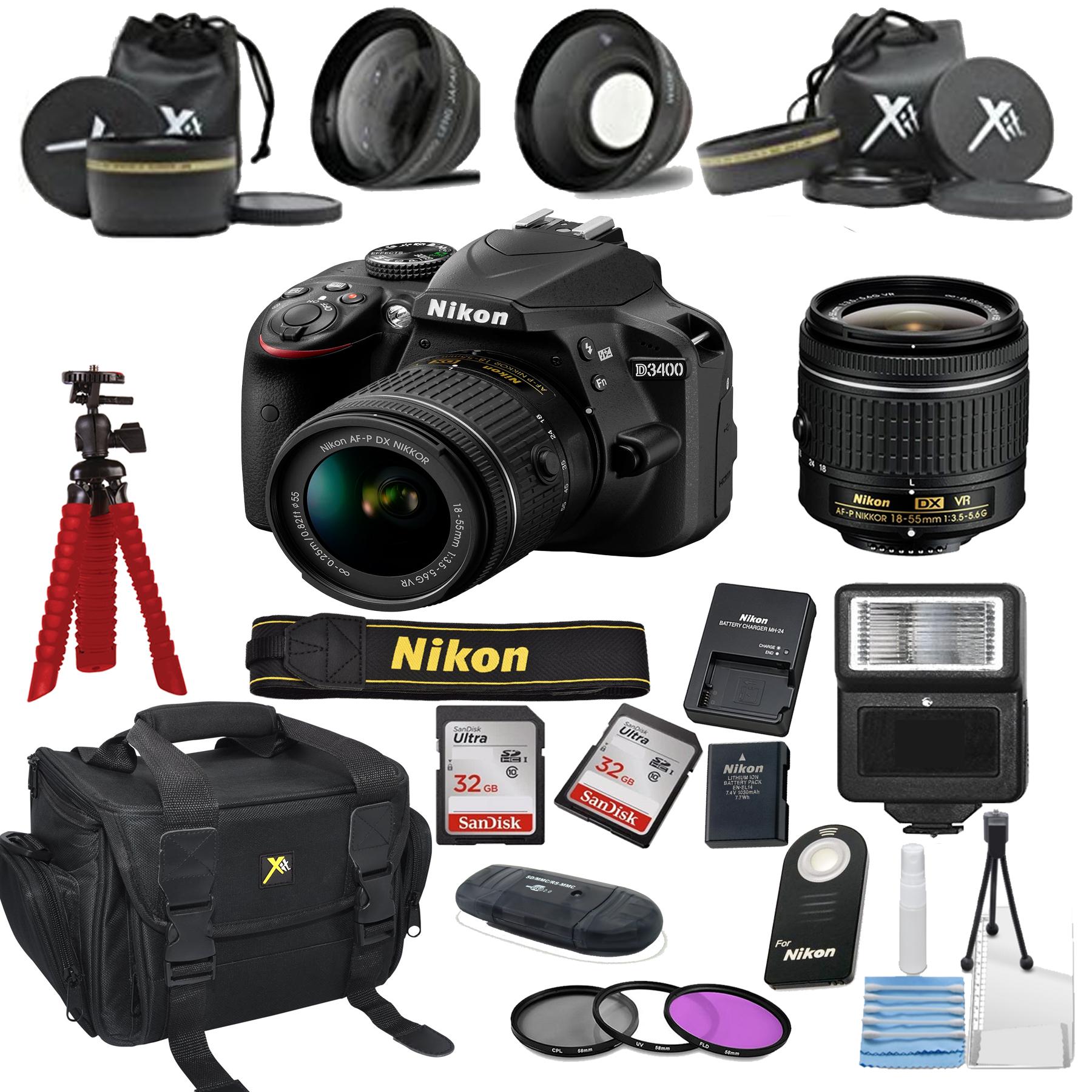 Nikon D3400 24.2 MP DSLR Camera + 18-55mm VR Lens Kit + Accessory Bundle (Certified Refurbished)