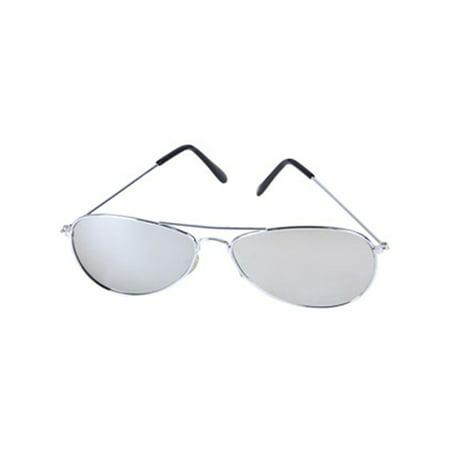 Mirror Lens Aviator Police Sunglasses Top Gun - Mirror Silver Halloween Contact Lenses