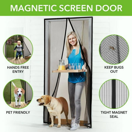 Magnetic Screen Door with Heavy Duty Mesh Curtain and Full Frame Hook&Loop FITS Door Size up to 36