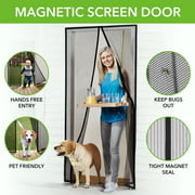 "Magnetic Screen Door with Heavy Duty Mesh Curtain and Full Frame Hook&Loop FITS Door Size up to 36""-82"" Max Black--eFBeauty"