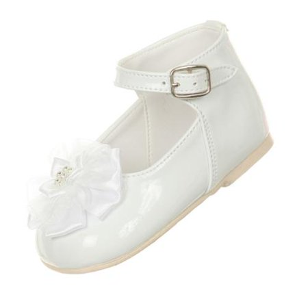 Rain Kids Baby Girls White Patent Floral Stud High Top Dress Shoes 0-4 Baby