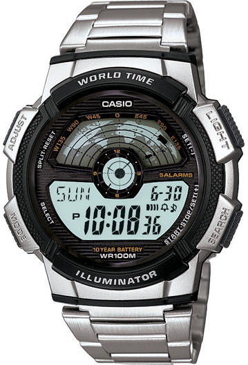 Men's Casio Sport World Map & Time Watch AE1100WD 1A   Walmart.com