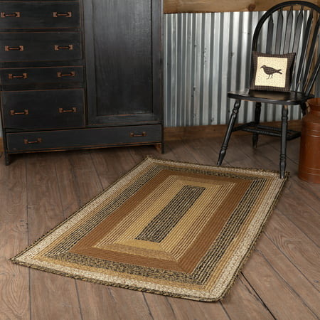 Country Black Primitive Flooring Prim Grove Jute Oval Accent Rug