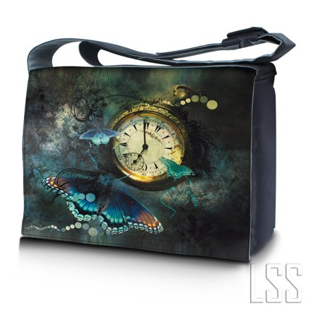 - LSS 17 17.3 inch Laptop Padded Compartment Shoulder Messenger Bag Carrying Case for 16' 17' 17.3' or Smaller Size Notebook - Clock Butterfly Floral