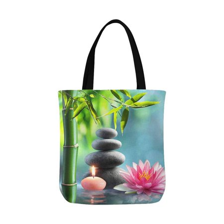ASHLEIGH Spa Natural Theme with Bamboo Massage Stones and Waterlily Canvas Tote Bags Reusable Shopping Bags Grocery Bags Washable Bags for Women Men Kids